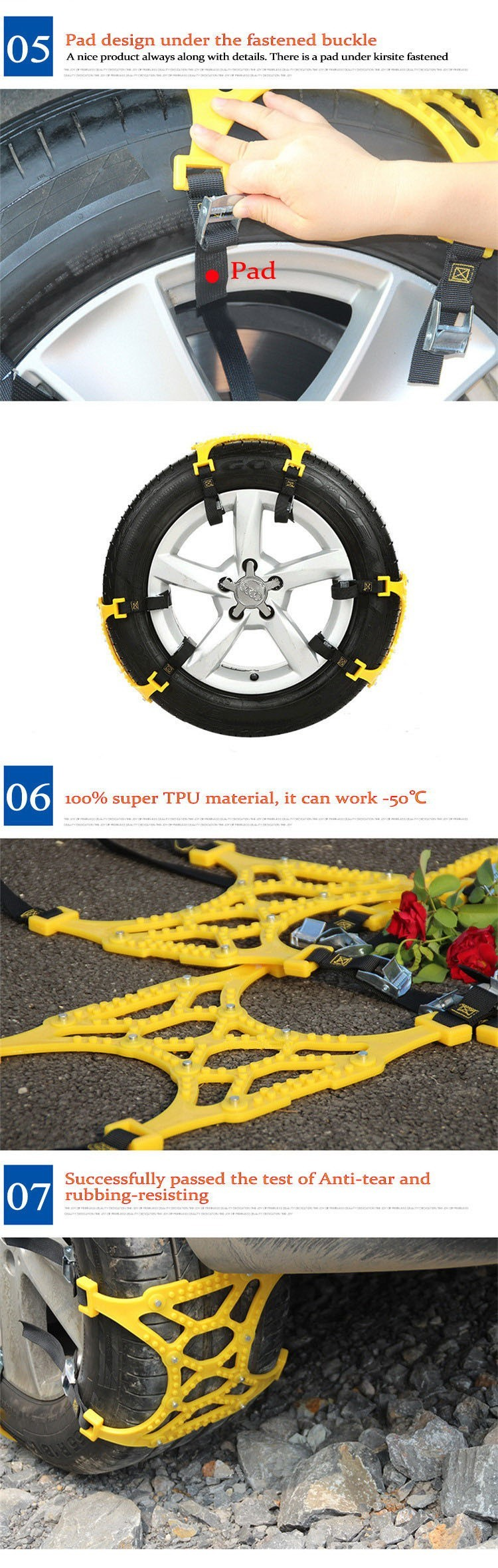 Car Tire Skid Chain 165mm ~ 265mm Features