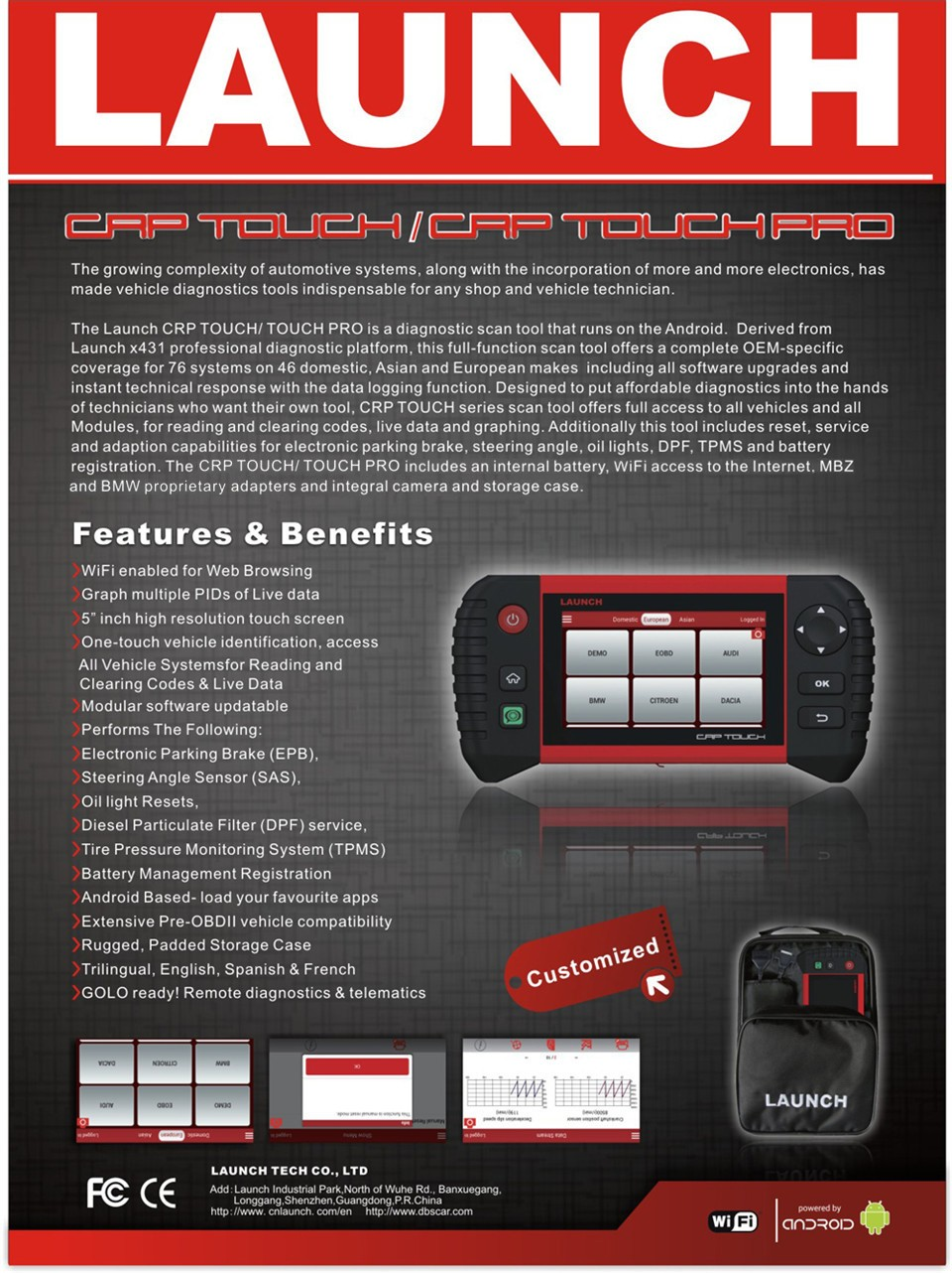 Launch Crp Touch Pro With Benz Bmw Connector Car